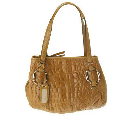 B.Makowsky Croco Embossed Leather Satchel with Hardware Accents