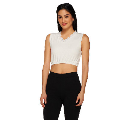 Kathleen Kirkwood Cropped V-neck Modest Tee with Lace Trim