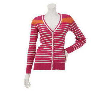 Denim & Co. Long Sleeve V-Neck Stripe Cardigan - A230432