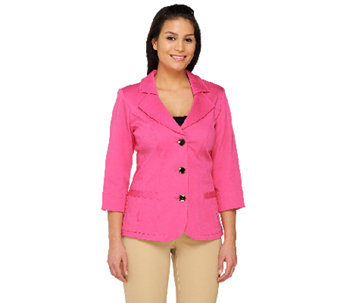 Denim & Co. 3/4 Sleeve Stretch Twill Jacket with Novelty Pockets - A231132