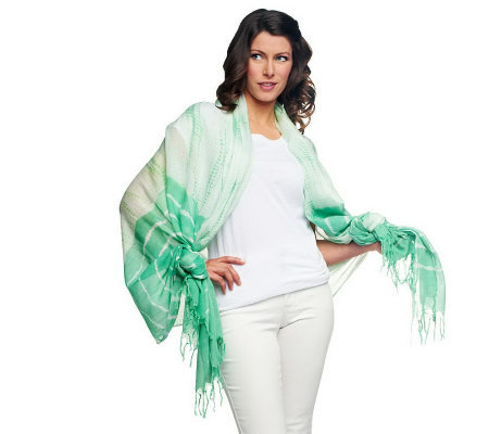 Lisa Rinna Collection Tie Dye Printed Scarf with Fringe