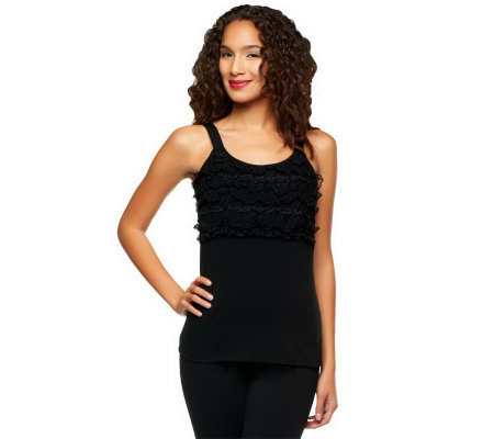 Kathleen Kirkwood Stretch Cotton Tank with Gathered Lace