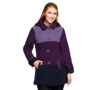 Susan Graver Boucle Fleece Button Front Color-Block Coat with Hood - A235432