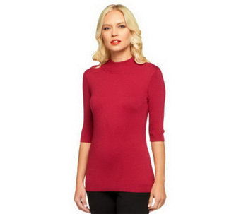 Linea by Louis Dell'Olio Posh Knit Mock Neck Sweater - A238532