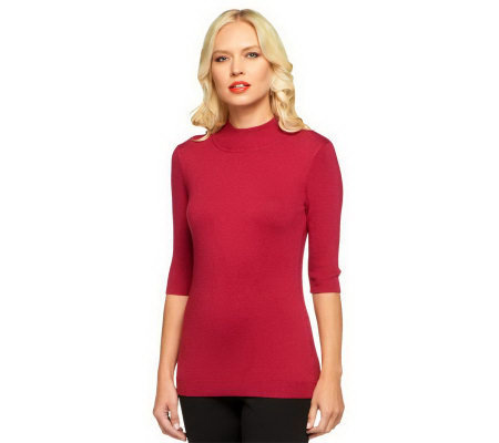 Linea by Louis Dell'Olio Posh Knit Mock Neck Sweater