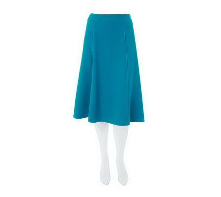 """As Is"" Susan Graver Stretch Crepe 6 Gored Skirt with Side Zip"