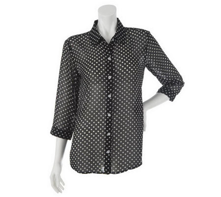 """As Is"" Susan Graver Printed Chiffon Button Front 3/4 Sleeve Blouse"