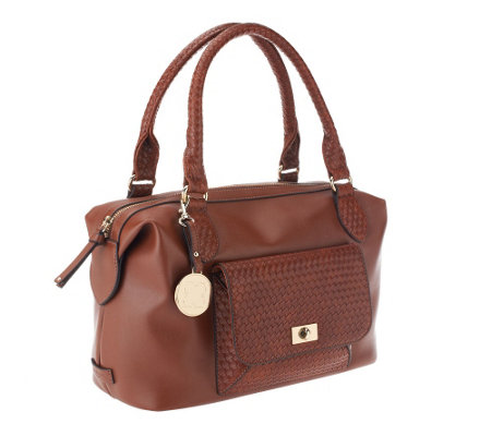 Liz Claiborne New York Satchel with Basketweave Pocket Detail