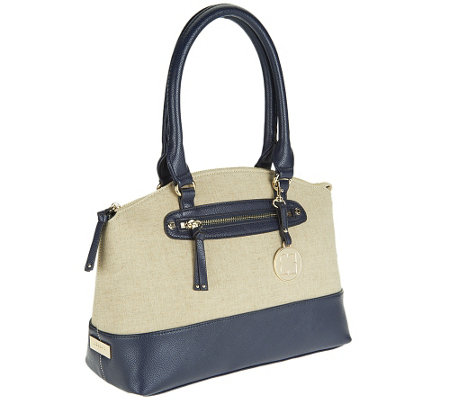 Liz Claiborne New York Double Strap Canvas Satchel