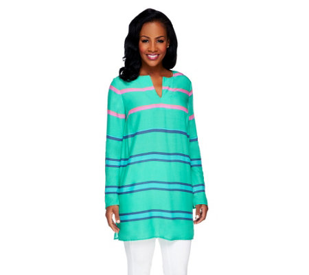 Lisa Rinna Collection V-Neck Striped Tunic Top