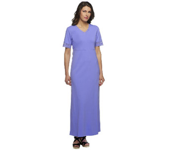Denim & Co. V-neck Empire Waist Maxi Dress with Crochet Trim - A253632