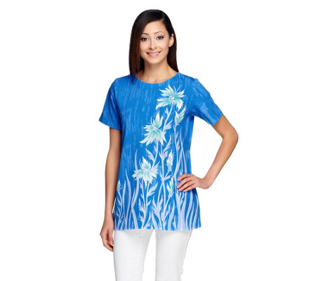 Bob Mackie's Floral Print Short Sleeve Tunic Top