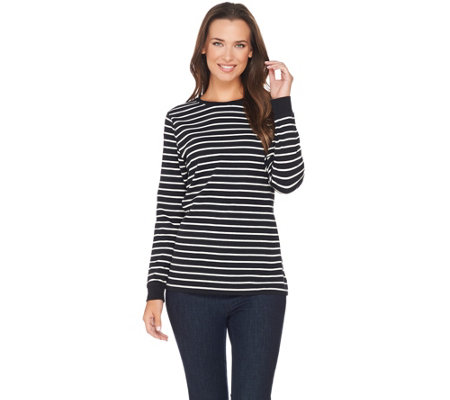 Denim & Co. Perfect Jersey Long Sleeve Stripe Top with Zipper Detail