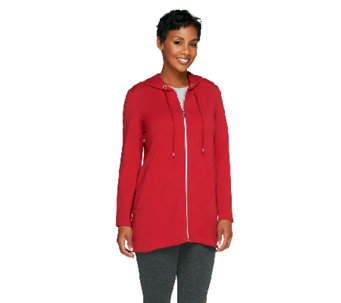 Susan Graver Weekend French Terry Hooded Jacket w/ Side Pockets - A258632