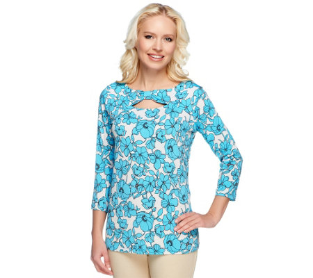 """As Is"" Susan Graver Printed Liquid Knit Top with 3/4 Sleeves"