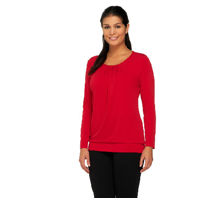 Susan Graver Liquid Knit Long Sleeve Top with Banded Bottom Hem