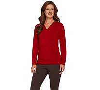 Susan Graver Plush Knit Long Sleeve Hooded Sweater w/ Pocket - A261232