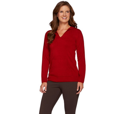 Susan Graver Plush Knit Long Sleeve Hooded Sweater w/ Pocket