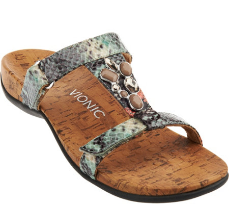 Vionic Orthotic Embellished Slide Sandals - Viviana