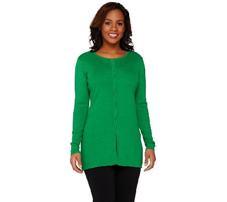Linea by Louis Dell'Olio Whisper Knit Top with Front Seam Detail