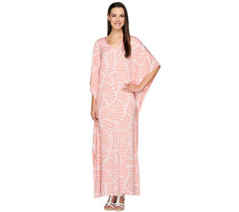 Joan Rivers Petite Length Leaf Print Jersey Knit Caftan - A263432