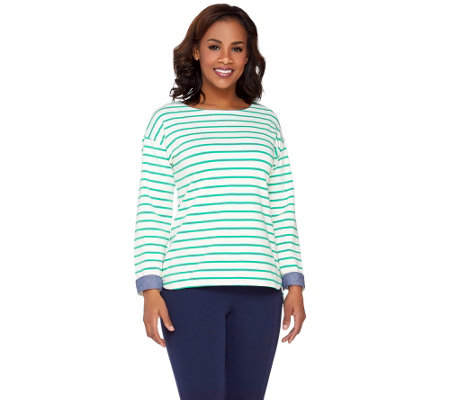 Denim & Co. Active Striped Long Sleeve Top w/ Chambray