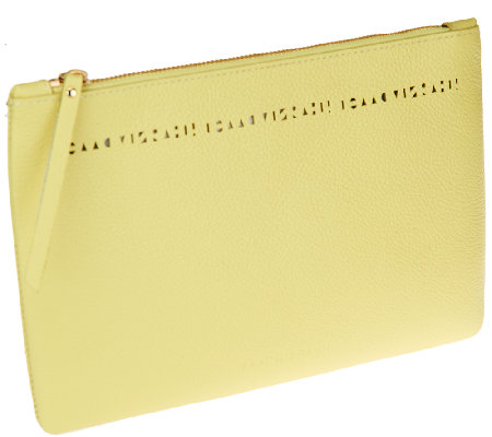 Isaac Mizrahi Live! Bridgehampton LeatherPouch w/ Cut-out Detail