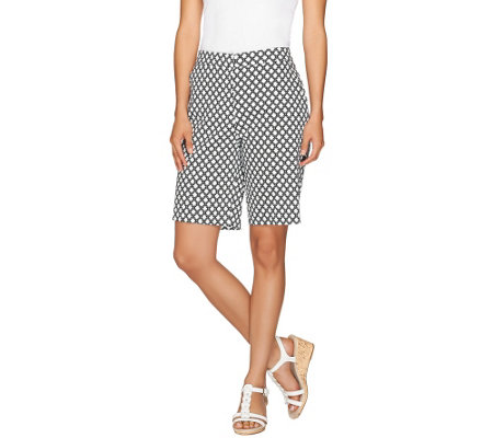 Susan Graver Printed Cotton Sateen Zip Front Bermuda Shorts
