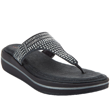 Skechers Studded Thong Sandals with Memory Foam - Studly