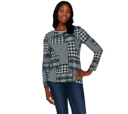 Denim & Co. Houndstooth Printed Round Neck Long Sleeve Top