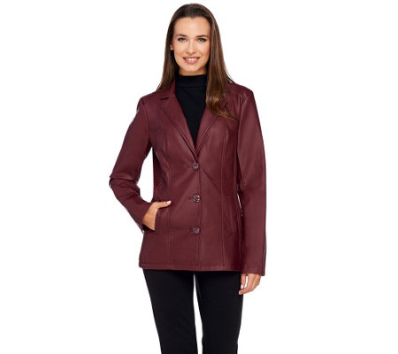 Dennis Basso Faux Leather Blazer with Pockets