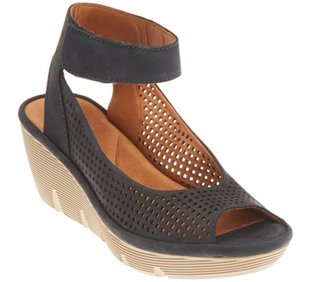 """As Is"" Clarks Artisan Nubuck or Leather Cut-out Wedges - Clarene Prima"
