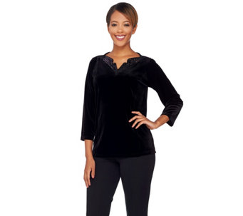 Bob Mackie's 3/4 Sleeve Knit Velvet Top with Sequin Neckline - A271132