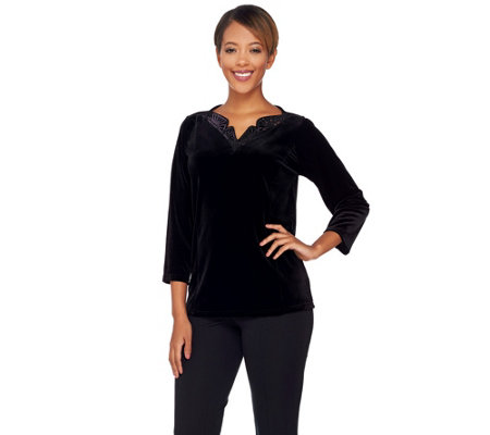 Bob Mackie's 3/4 Sleeve Knit Velvet Top with Sequin Neckline