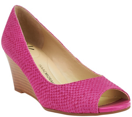 """As Is"" Isaac Mizrahi Live! Textured Suede Open Toe Wedges"