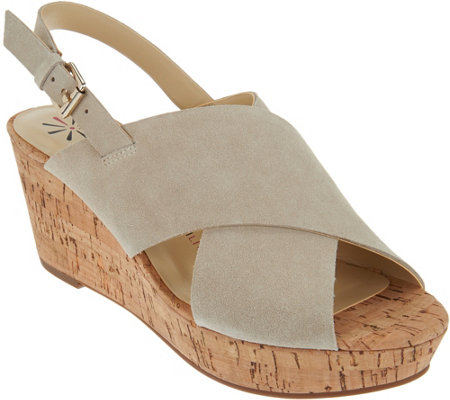 Isaac Mizrahi Live! Suede Cross Band Wedge Sandals