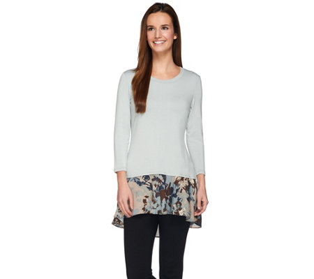 LOGO by Lori Goldstein Knit Top with Printed Crepe Trim
