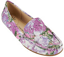 Isaac Mizrahi Live! Floral Printed Leather Moccasins - A273432