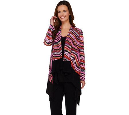 Attitudes by Renee Printed Drape Front Cardigan and Tank Set