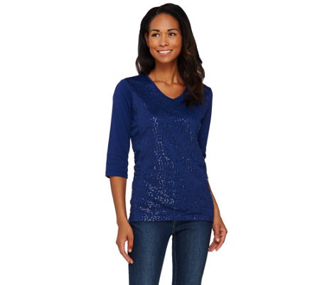Quacker Factory Sequin and Mesh-Lined 3/4 Sleeve T-shirt