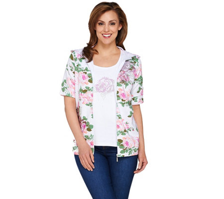 Quacker Factory Rose Print Elbow Sleeve Hoodie and Tank Set