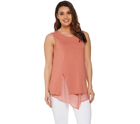 H by Halston Sleeveless Knit Top with Chiffon Detail