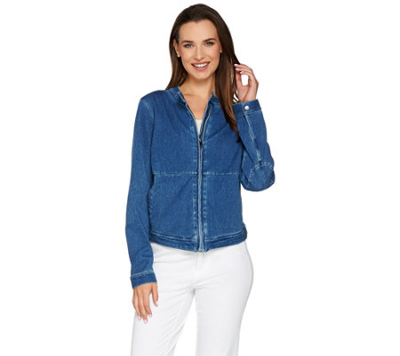 Lisa Rinna Collection Stretch Denim Motorcycle Jacket