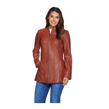 Denim & Co. Lamb Leather Stand Collar Jacket with Seam Details