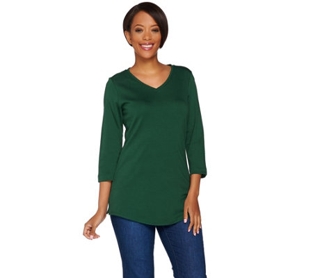 C. Wonder Essentials Pima Cotton 3/4 Sleeve V-neck Tunic