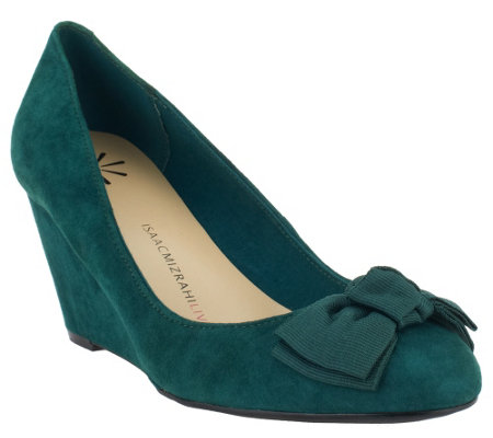 """As Is"" Isaac Mizrahi Live! Suede Bow Wedges"