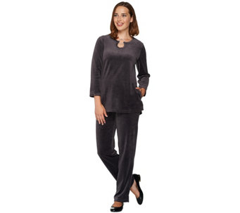 Quacker Factory Keyhole Velour Tunic and Pants Set - A281832