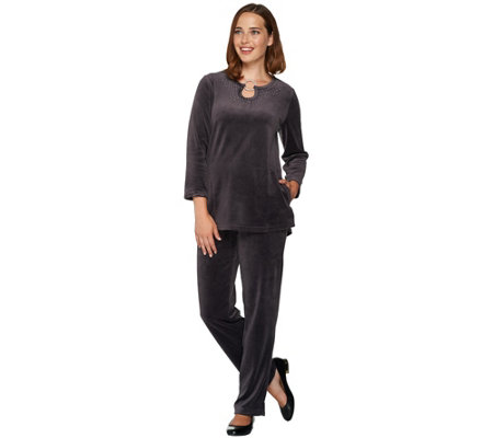 Quacker Factory Keyhole Velour Tunic and Pants Set