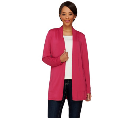 """As Is"" Susan Graver Premier Knit Open Front Cardigan with Button Detail"