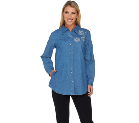Quacker Factory Denim Shirt with Rhinestone Brooch Motif